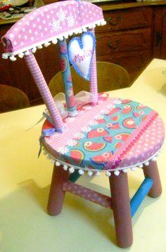 Patchwork, patch colagem, cadeira customizada. Fabric artcraft Rosana Sperotto