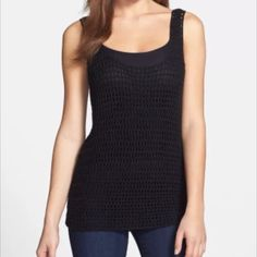 NWT✨Nordstrom Halogen crochet sweater tank! $70 Details: Crochet stitching adds airy, open dimension to a pretty layering tank styled with front and back scooped necklines and crafted in a slim silhouette. - Base layer shown sold separately - 100% acrylic Halogen Tops Tank Tops