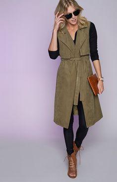 Helix Sleeveless Trench Coat Khaki | Beginning Boutique