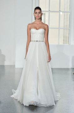 Romona Keveza Collection - Sweetheart A-Line Gown in Silk Organza