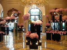 Contemporary elegance.  Lush pink, black and bling.
