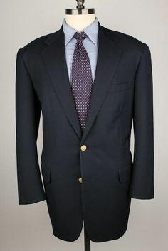 RARE Oxxford Clothes Navy w/ Gold LOGO Btns Super 100s Wool 42 R mens Sport Coat