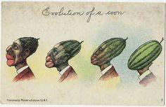 """Evolution of a Coon"" Sickening, racist postcard"