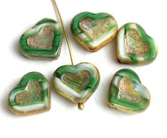 Mixed Green Heart beads, Picasso czech glass beads, Blue and Clear table cut glass heart - 14mm - 6Pc - 2977 by MayaHoney on Etsy