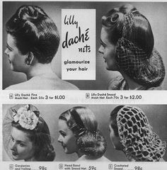 Lilly Dache hair nets. #vintage #1940s #hair snood style vintage