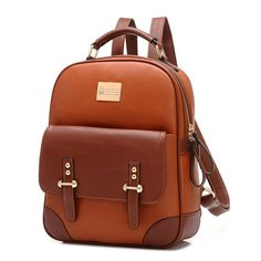 British Preppy Retro Brown Leather School Backpacks