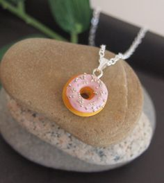 Pink Strawberry Doughnut Necklace  Donut Necklace by Jollibeadz, $12.00