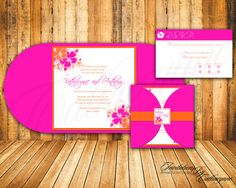 Tropical Wedding Invitation  The Modern Hibiscus by catharynne, $3.80