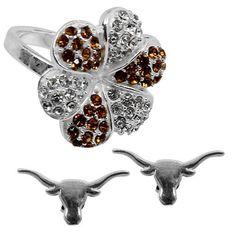 Dayna U Texas Longhorns Ladies Logo Earrings and Rhinestone Flower Ring Set