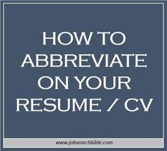 How to abbreviate on your resume