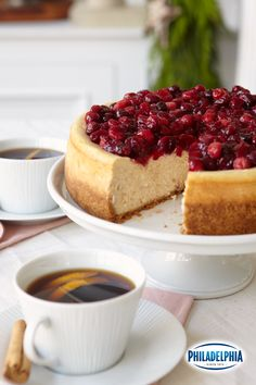 This showstopping Cranberry-Glazed Cinnamon Cheesecake recipe doubles up on creaminess by using a combo of sour cream and PHILADELPHIA Cream Cheese. It's sure to wow any holiday crowd!