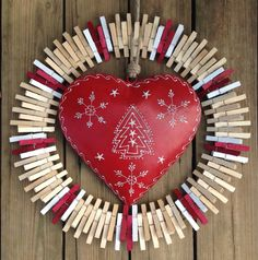 Red Heart Christmas clothespin wreath by ThreeDogWreaths on Etsy