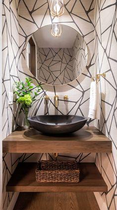 62+Bathroom Wallpaper Ideas (NEUTRAL & COLORFUL) - Wallpapers Tiny Powder Rooms, Modern Powder Rooms, Powder Room Decor, Powder Room Design, Powder Room Vanity, Diy Bathroom Decor, Bathroom Interior Design, Zebra Bathroom, Bathroom Ideas
