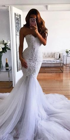 #weddingdresses #laceweddingdresses #weddingdresses #beachweddingdresses  LBQW0175 features high quality tulle but the price is very nice. Mermaid can best show off your wonderful curve. Off the Shoulder , sleeveless and backless very elegant. Appliques can let you be more  chic and charming. Shop at AlinePromDress! You deserve it. Mermaid Wedding Dress With Sleeves, Lace Back Wedding Dress, Western Wedding Dresses, Applique Wedding Dress, Modest Wedding Dresses, Perfect Wedding Dress, Mermaid Dresses, Sexy Dresses, Bridal Dresses