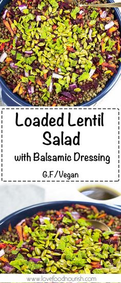 Lentil Salad loaded with antioxidant rich veggies and a delicious balsamic dressing. #glutenfree #vegan #lentils #salad #lentilsalad #vegandinner #glutenfreedinner