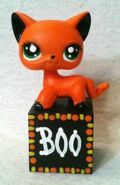 boo block cat ooak hand painted custom littlest pet shop