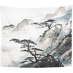 Emvency Tapestry Print Inches Pink Japanese Chinese Landscape Painting China Ink Mountain Tree Garden Brush Wall Hangings Home Decor Asian Landscape, Chinese Landscape Painting, Japanese Landscape, Landscape Drawings, Japanese Painting, Chinese Painting, Chinese Art, Landscape Art, Japanese Art