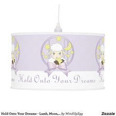 Hold Onto Your Dreams - Cute Animal Personalized Ceiling  Lamp for Girls and Nursery Room