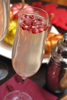 Always Order Dessert: Pear & Pomegranate Spritzer Cocktails