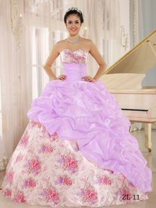 New Multicolor Printed Sweetheart Quinceanera Dress with Beaded and Pick-ups