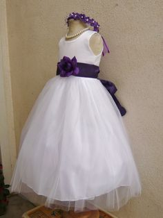 WHITE flower girl dress more than 20 sash and by KidsDreamsUSA, $30.99