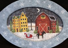 Christmas Folk Art Hand Painted Oval Plate, Snow Ridge Farm, Horse and Sleigh, Saltbox House, Red Barn, Snowflakes, Country MADE TO ORDER