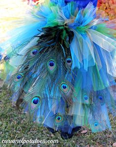 a peacock bustle with feathers