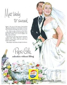 """Most Likely To Succeed!"" ~ Vintage Bride and Groom from 1956 Pepsi ad."