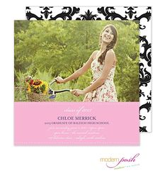 Modern Posh | Graduation | Posh Grad Square Digital Photo Invitation (Modern Posh) | The PrintsWell Store