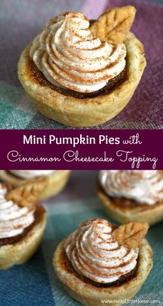 These Mini Pumpkin Pies with Cinnamon Cheesecake Topping are the perfect addition to your Thanksgiving table! Thanksgiving Desserts, Fall Desserts, Delicious Desserts, Dessert Recipes, Yummy Food, Thanksgiving Ideas, Dessert Ideas, Mini Pumpkin Pies, Mini Pumpkins