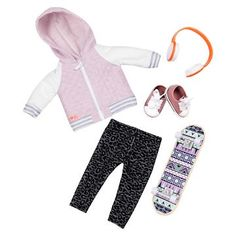 Our Generation® Deluxe Outfit - Fashion on Board™ Our Generation Doll Accessories, Our Generation Doll Clothes, Poupées Our Generation, All American Girl Dolls, Ropa American Girl, American Girl Clothes, Baby Alive Doll Clothes, Girl Doll Clothes, Skateboard Outfits