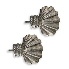 Cambria® Complete Brushed Nickel Shell Finials (Set of 2)