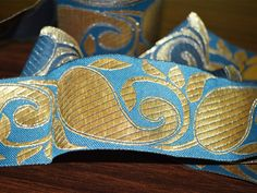 Teal Blue Gold pattern Paisley Brocade Border Pattern/Lace Jacquard Weaving Boarder/Lace. Lace has Paisley pattern design all over and Trim is approx 2 inches wide. . This stunning lace can be used...