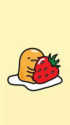 Gudetama with strawberry wallpaper