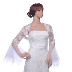 Trumpet Sleeves Lace Bridal Wrap with Beading Category:Bolero JacketsOccasion:Wedding/Special OccasionSeason:Spring/SummerSleeve Style:Long SleeveFabric:LaceFabric(main):LaceFur Jackets:S/M/L/XL Only $118.98 USD