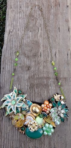 Vintage Pin Bib Necklace  Green by Windsday on Etsy, $20.00