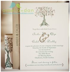 I'm really drawn to the tree as an image of the combining of two people. This is a wonderful invite.