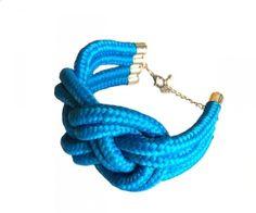 Weave rope cuff bracelet (various colours) - Image BLUE