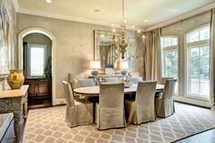 ** Dining room with zinc top dining table.