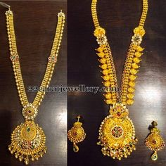 Jewellery Designs: Antique Floral Long Chains