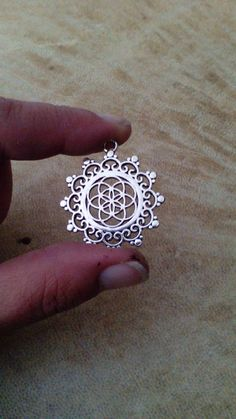 Seed of life mandala pendant. Silver plated by Miascraftsupplies