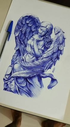 Tattoo Sketches, Art Sketches, Art Drawings, Religious Tattoos, Religious Art, Angel Drawing, Angel Tattoo Drawings, Angels Tattoo, Ballpoint Pen Art