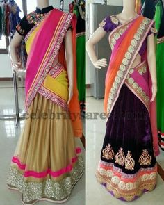 Pretty Velvet Half Sarees by Vani | Saree Blouse Patterns