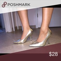Charlotte Russe gold heels Gently used, only once, great condition, pointy toe,  approximately 3.5 inches, will go perfectly for a night out on the town!:) Charlotte Russe Shoes Heels