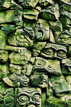Gargoyle wall by # Outdoor Statues, Garden Statues, Wood Sculpture, Wall Sculptures, Sun Tv Shows, Heather Gardens, Mystic Garden, Witchy Wallpaper, Mystical World
