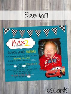 Cars Themed Birthday Party Invitation! Digital Copy Only!