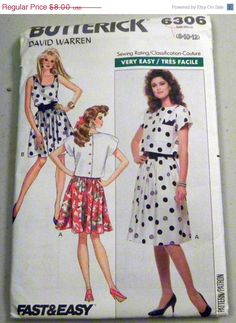 ON SALE 1980s Sundress and Top sewing pattern by retroactivefuture