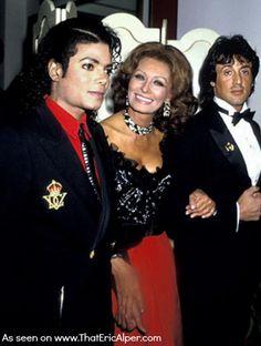 Photo: Michael Jackson, Sophia Loren, and Sylvester Stallone.