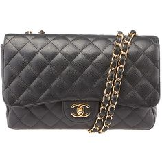 Pre-owned Chanel Black Caviar Quilted Leather Single Flap Shoulder Bag ($3,450) ❤ liked on Polyvore featuring bags, handbags, shoulder bags, hologram purse, quilted leather handbags, quilted leather shoulder bag, flap bag and black leather quilted handbag