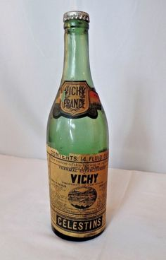Antique Vichy Mineral Water Glass Bottle Sealed 1900's